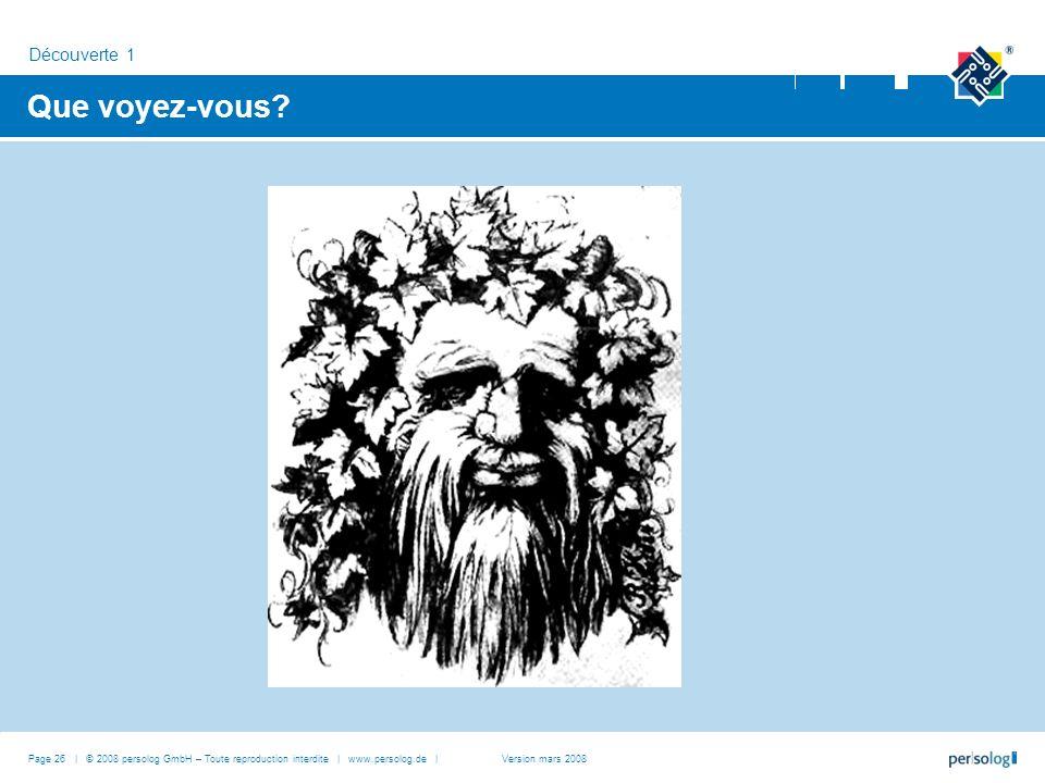 Que voyez-vous? Découverte 1 Page 26 | © 2008 persolog GmbH – Toute reproduction interdite | www.persolog.de |Version mars 2008