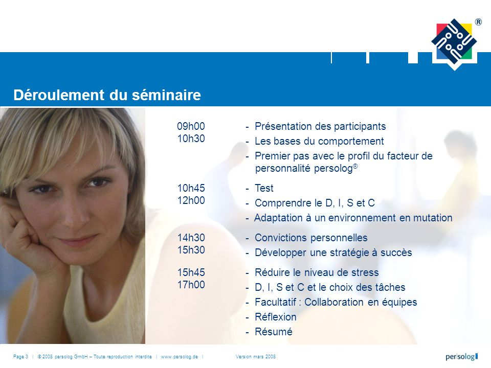 Déroulement du séminaire 09h00 10h30 - Présentation des participants - Les bases du comportement - Premier pas avec le profil du facteur de personnali