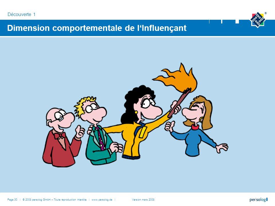 Dimension comportementale de lInfluençant Découverte 1 Page 30 | © 2008 persolog GmbH – Toute reproduction interdite | www.persolog.de |Version mars 2008