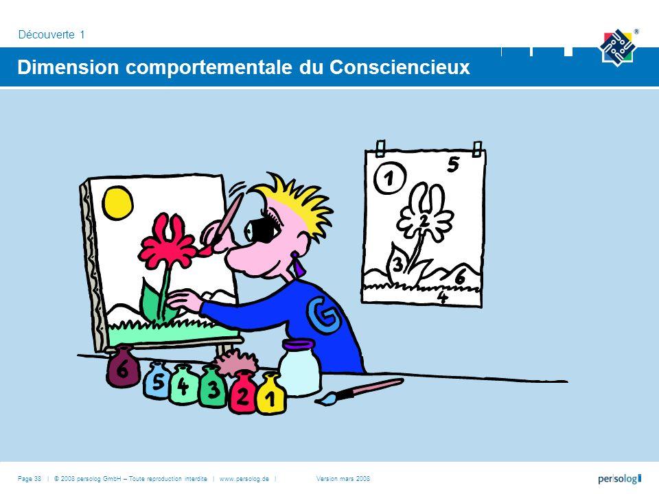 Dimension comportementale du Consciencieux Découverte 1 Page 38 | © 2008 persolog GmbH – Toute reproduction interdite | www.persolog.de |Version mars 2008