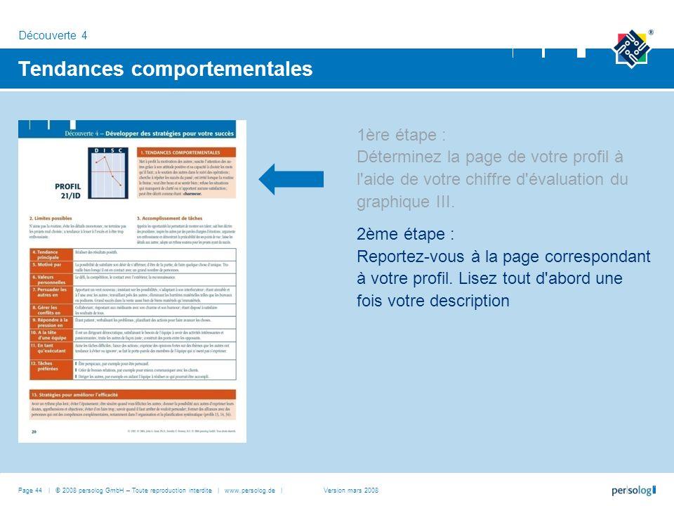 Page 44 | © 2008 persolog GmbH – Toute reproduction interdite | www.persolog.de | Tendances comportementales 1ère étape : Déterminez la page de votre profil à l aide de votre chiffre d évaluation du graphique III.