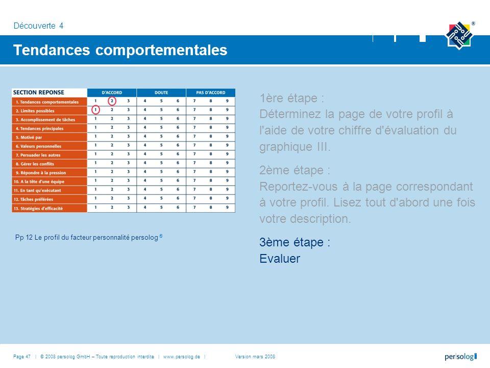 Page 47 | © 2008 persolog GmbH – Toute reproduction interdite | www.persolog.de | Tendances comportementales 1ère étape : Déterminez la page de votre