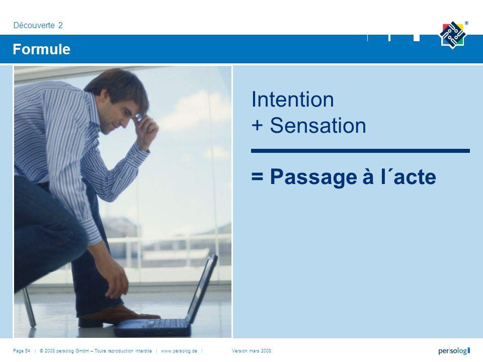 Page 54 | © 2008 persolog GmbH – Toute reproduction interdite | www.persolog.de | Formule Intention + Sensation = Passage à l´acte Découverte 2 Version mars 2008