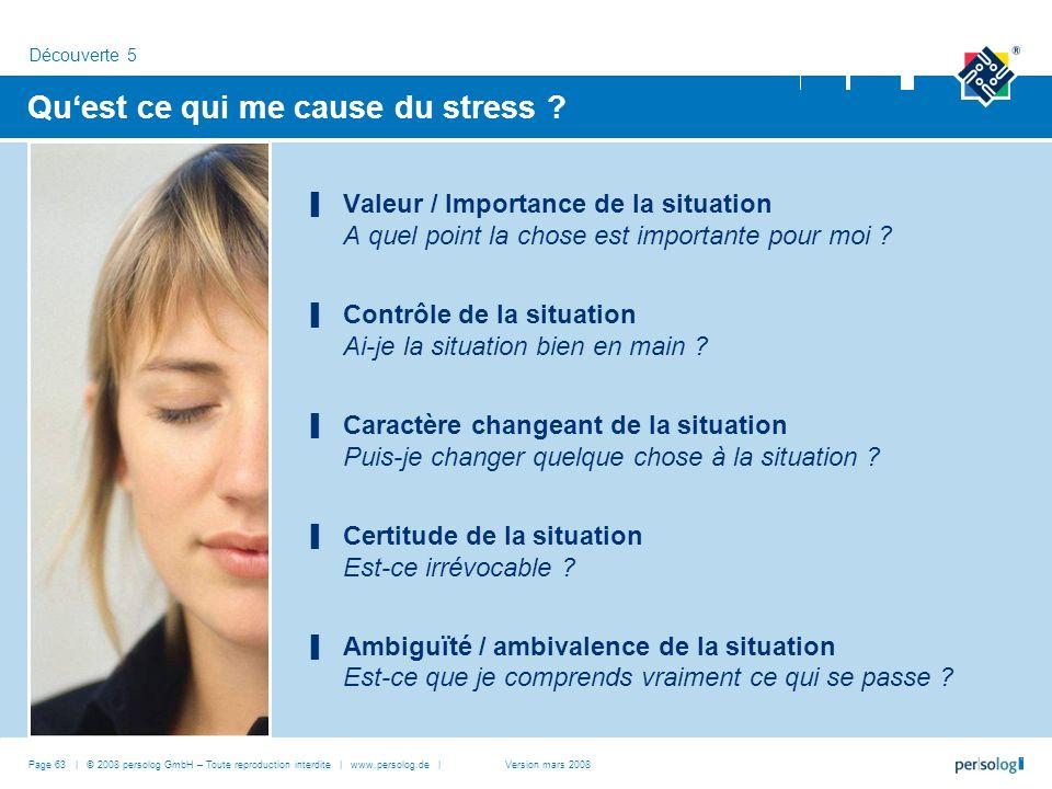Page 63 | © 2008 persolog GmbH – Toute reproduction interdite | www.persolog.de | Quest ce qui me cause du stress ? Valeur / Importance de la situatio