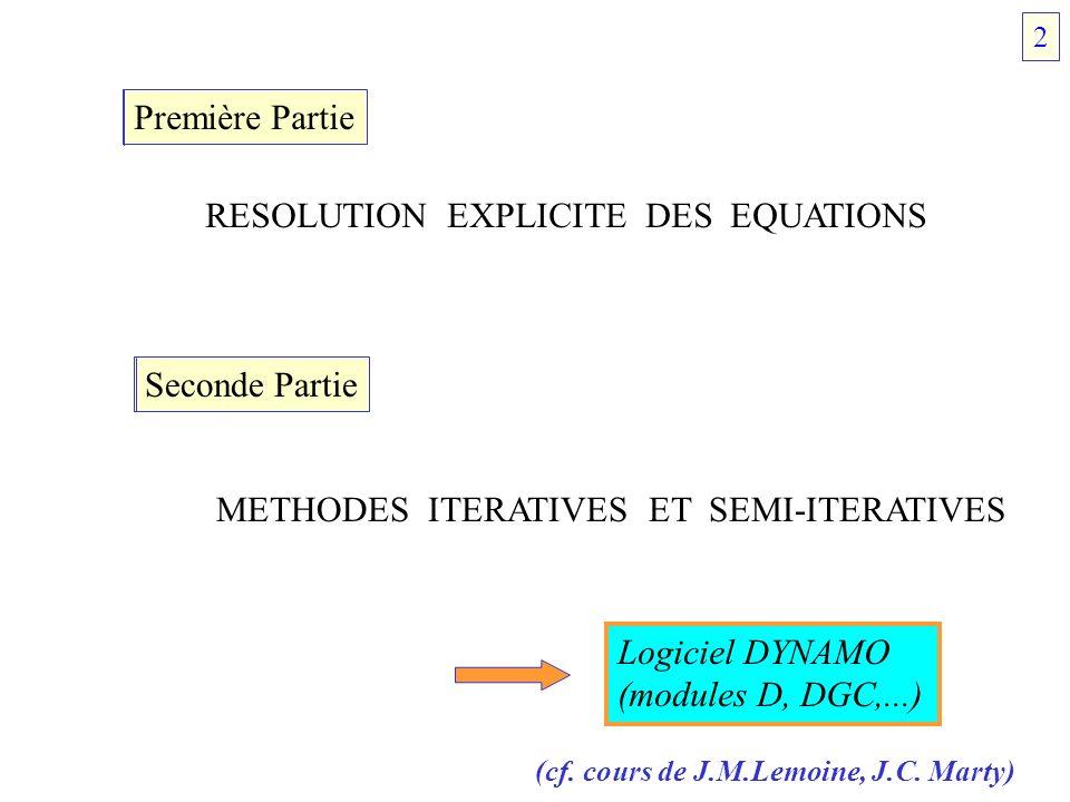 Première Partie RESOLUTION EXPLICITE DES EQUATIONS 1.