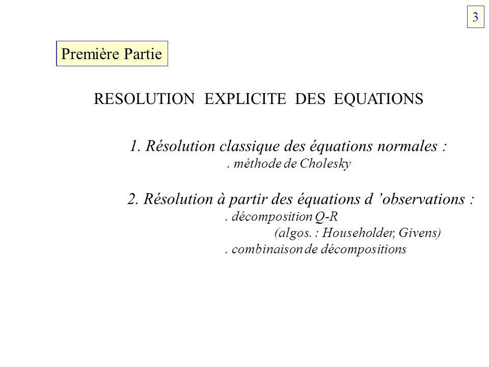 Première Partie RESOLUTION EXPLICITE DES EQUATIONS 1. Résolution classique des équations normales :. méthode de Cholesky 2. Résolution à partir des éq