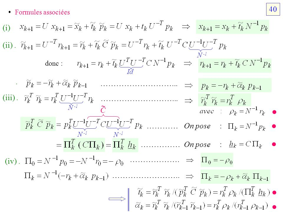 Formules associées (i) N -1 donc : (ii). Id. ………………………... (iii). ………………………... N -1 N -1 C ………… On pose : …………… On pose : (iv). ………………. …………………….. 40