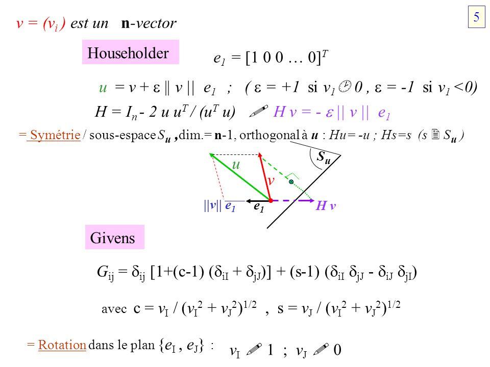 Householder v = (v i ) est un n-vector e 1 = [1 0 0 … 0] T u = v + || v || e 1 ; ( = +1 si v 1 0, = -1 si v 1 <0) H = I n - 2 u u T / (u T u) H v = -