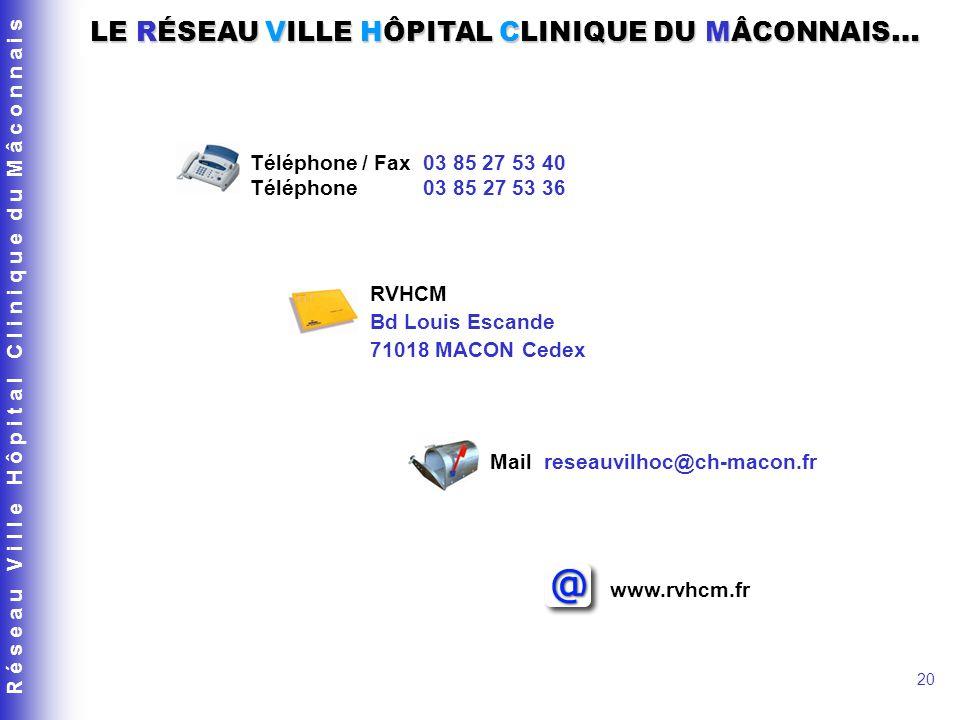 R é s e a u V i l l e H ô p i t a l C l i n i q u e d u M â c o n n a i s 20 Téléphone / Fax 03 85 27 53 40 Téléphone 03 85 27 53 36 Mail reseauvilhoc