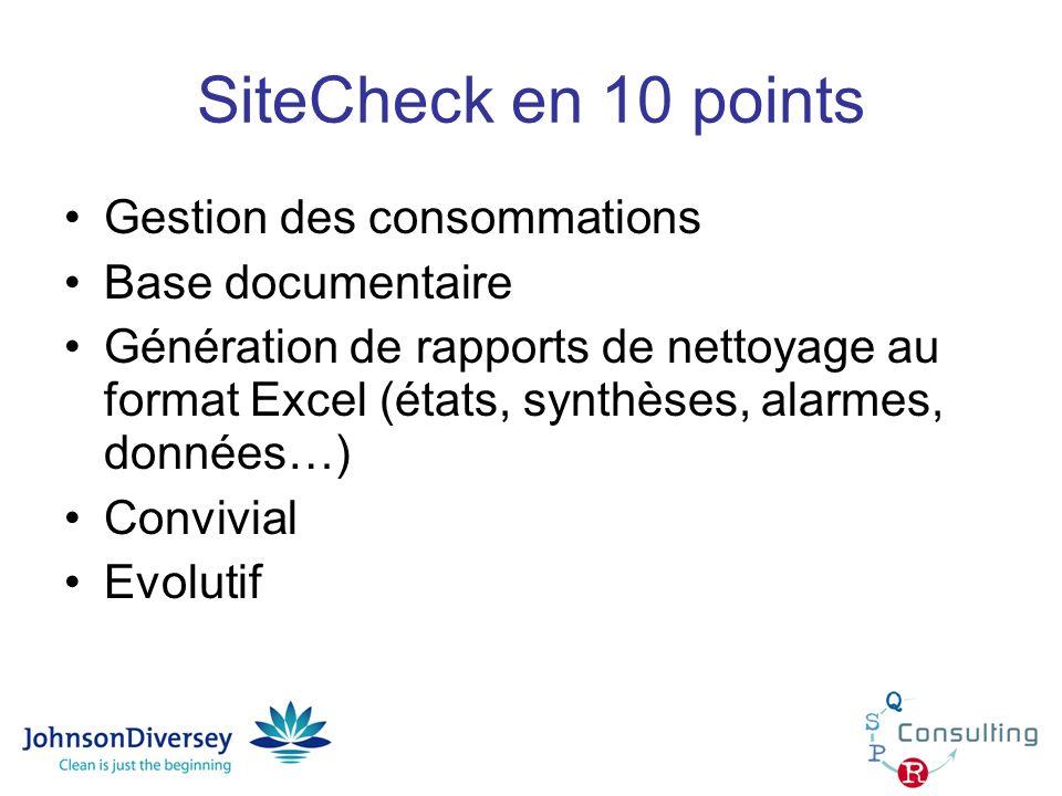 SiteCheck en 10 points Gestion des consommations Base documentaire Génération de rapports de nettoyage au format Excel (états, synthèses, alarmes, don