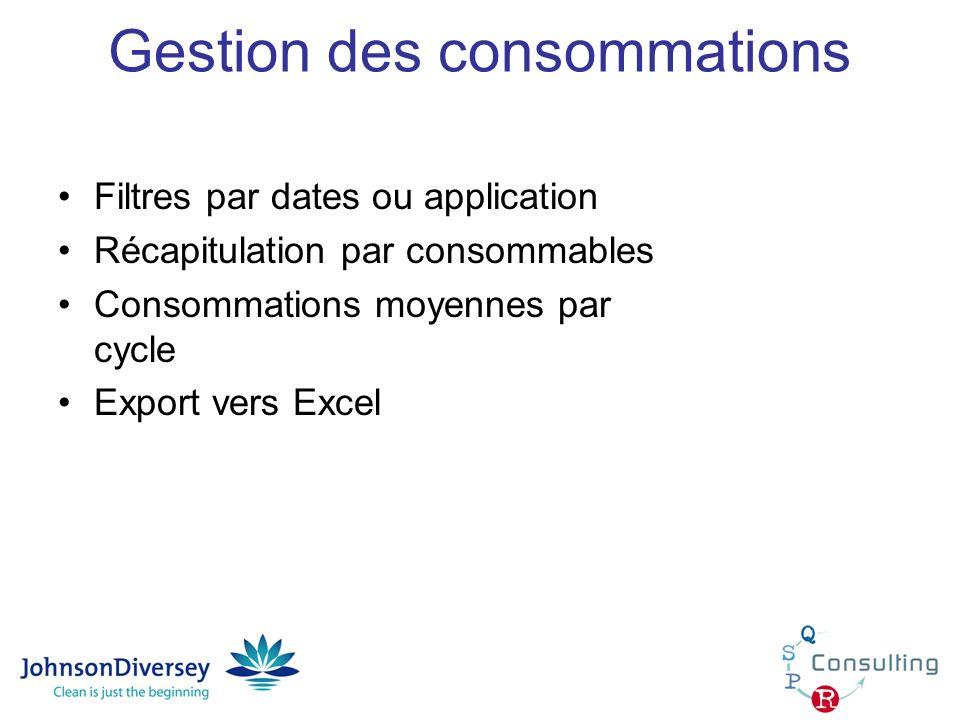 Gestion des consommations Filtres par dates ou application Récapitulation par consommables Consommations moyennes par cycle Export vers Excel