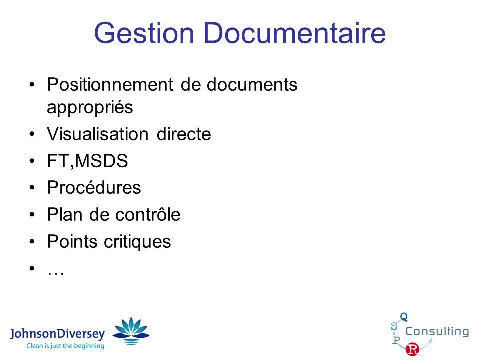 Gestion Documentaire Positionnement de documents appropriés Visualisation directe FT,MSDS Procédures Plan de contrôle Points critiques …