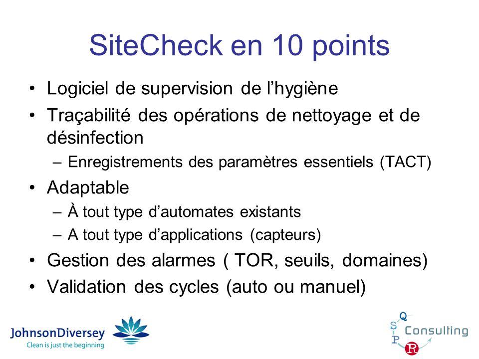 SiteCheck en 10 points Gestion des consommations Base documentaire Génération de rapports de nettoyage au format Excel (états, synthèses, alarmes, données…) Convivial Evolutif