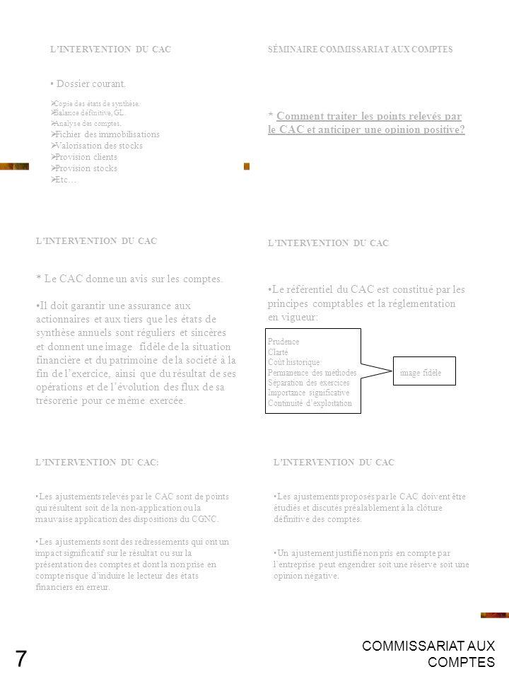 COMMISSARIAT AUX COMPTES 7 LINTERVENTION DU CAC Dossier courant.