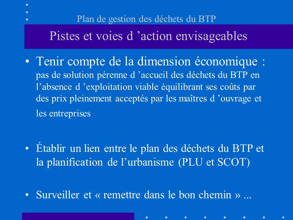 Plan de gestion des déchets du BTP Pistes et voies d action envisageables Tenir compte de la dimension économique : pas de solution pérenne d accueil