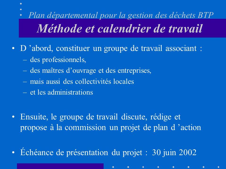Plan départemental pour la gestion des déchets BTP Méthode et calendrier de travail D abord, constituer un groupe de travail associant : –des professi