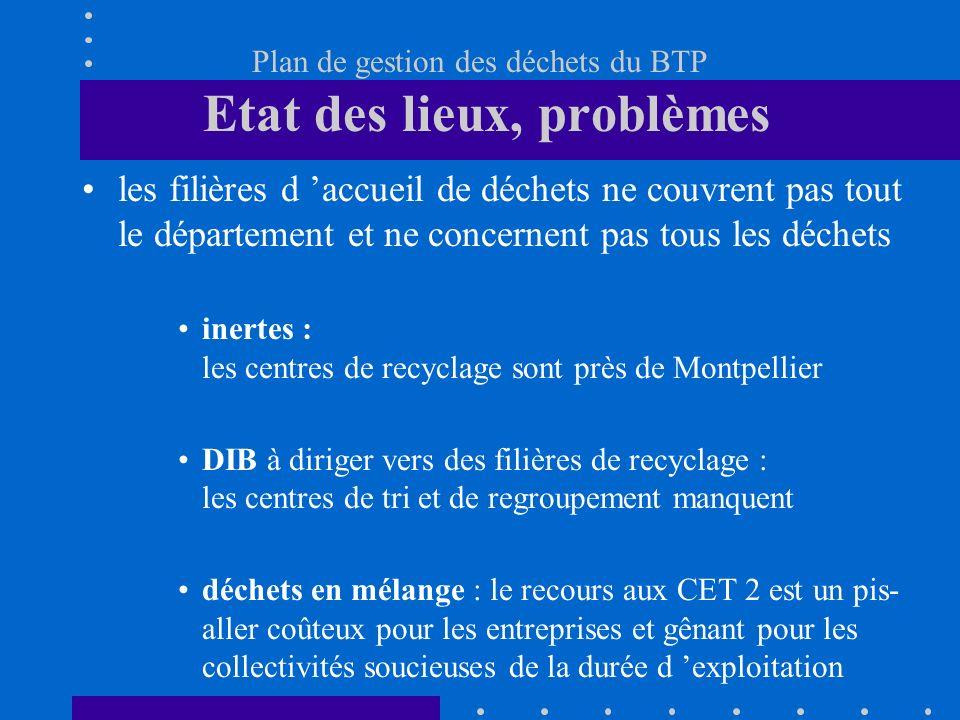 Plan de gestion des déchets du BTP Etat des lieux, problèmes les filières d accueil de déchets ne couvrent pas tout le département et ne concernent pa