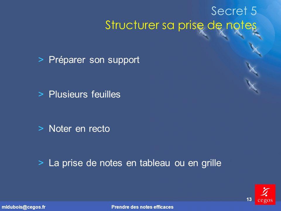 mldubois@cegos.frPrendre des notes efficaces 13 Secret 5 Structurer sa prise de notes >Préparer son support >Plusieurs feuilles >Noter en recto >La prise de notes en tableau ou en grille