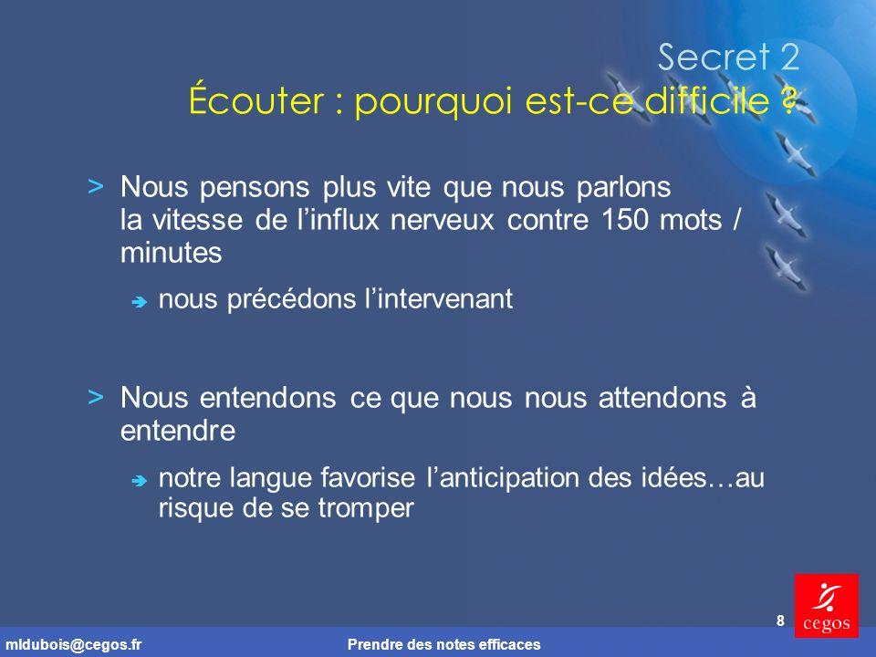 mldubois@cegos.frPrendre des notes efficaces 8 Secret 2 Écouter : pourquoi est-ce difficile .