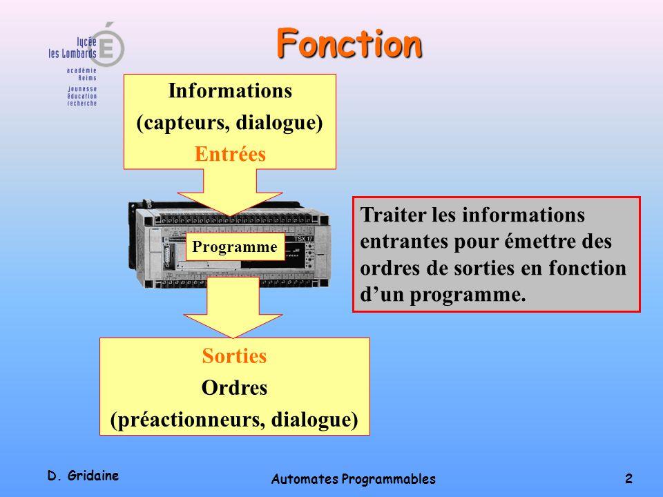 D. Gridaine Automates Programmables 1 Automates Programmables Industriels