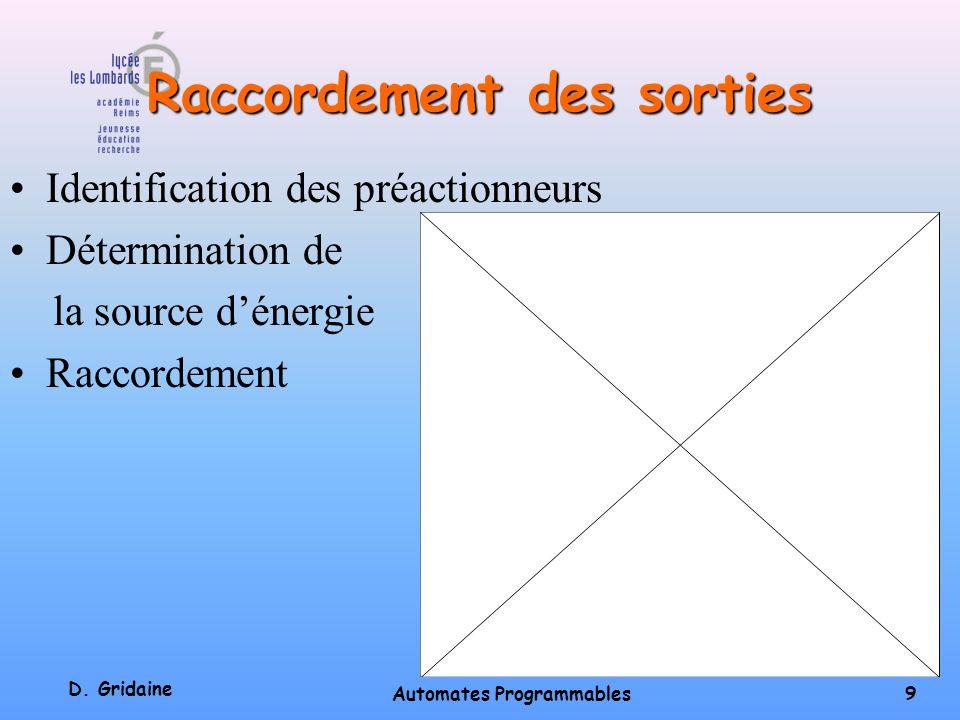 D. Gridaine Automates Programmables 8 Raccordement des entrées Raccordement