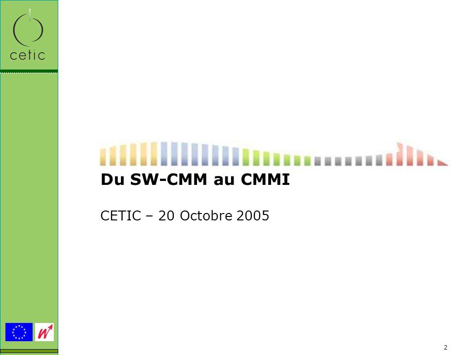 2 Du SW-CMM au CMMI CETIC – 20 Octobre 2005