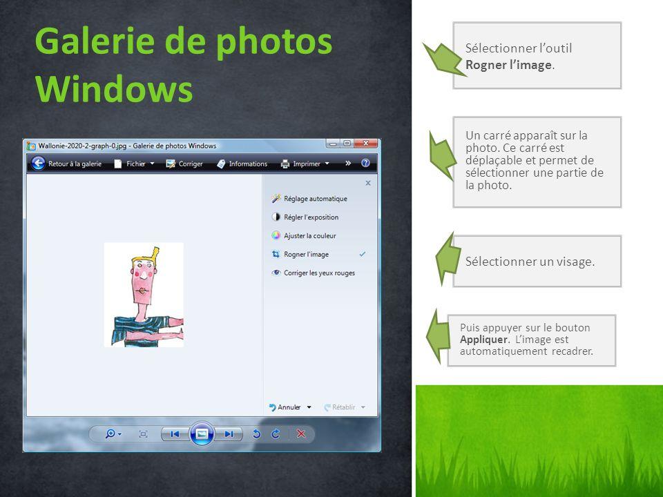 Galerie de photos Windows Sélectionner loutil Rogner limage. Un carré apparaît sur la photo. Ce carré est déplaçable et permet de sélectionner une par