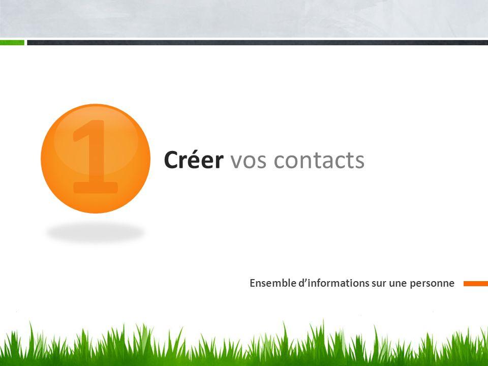 Créer vos contacts Ensemble dinformations sur une personne 1