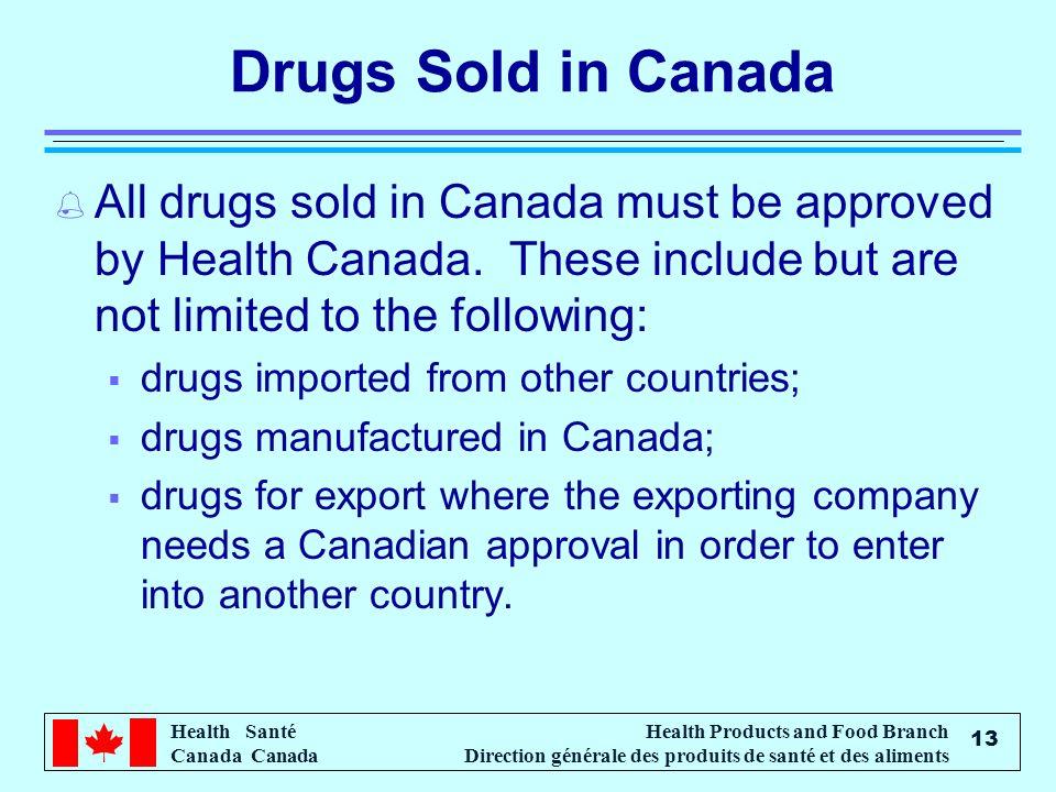 Health Santé Canada Health Products and Food Branch Direction générale des produits de santé et des aliments 13 Drugs Sold in Canada % All drugs sold
