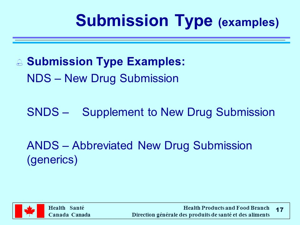 Health Santé Canada Health Products and Food Branch Direction générale des produits de santé et des aliments 17 Submission Type (examples) % Submission Type Examples: NDS – New Drug Submission SNDS – Supplement to New Drug Submission ANDS – Abbreviated New Drug Submission (generics)