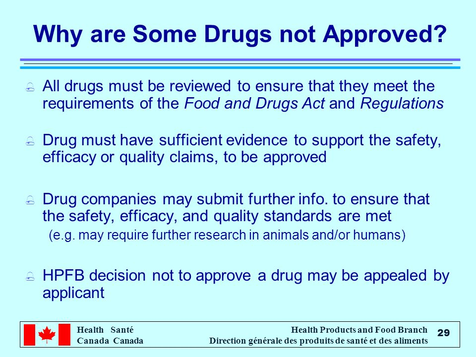 Health Santé Canada Health Products and Food Branch Direction générale des produits de santé et des aliments 29 Why are Some Drugs not Approved.