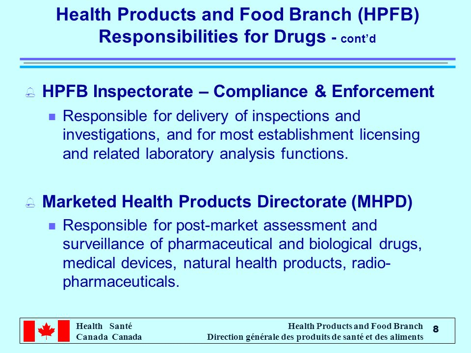 Health Santé Canada Health Products and Food Branch Direction générale des produits de santé et des aliments 8 Health Products and Food Branch (HPFB) Responsibilities for Drugs - contd % HPFB Inspectorate – Compliance & Enforcement n Responsible for delivery of inspections and investigations, and for most establishment licensing and related laboratory analysis functions.
