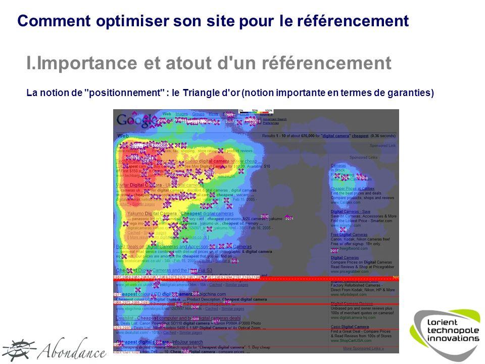 I.Importance et atout d un référencement La notion de positionnement : le Triangle d or (notion importante en termes de garanties) Comment optimiser son site pour le référencement