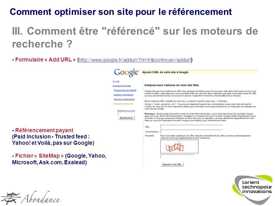 Comment optimiser son site pour le référencement III.