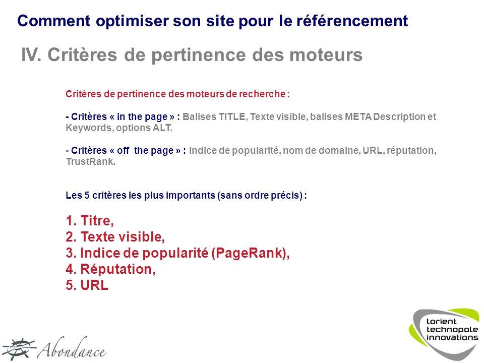 Comment optimiser son site pour le référencement IV.