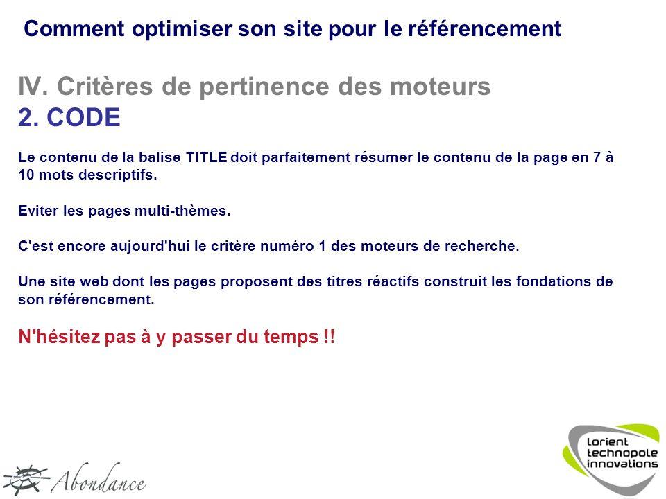 IV. Critères de pertinence des moteurs 2.