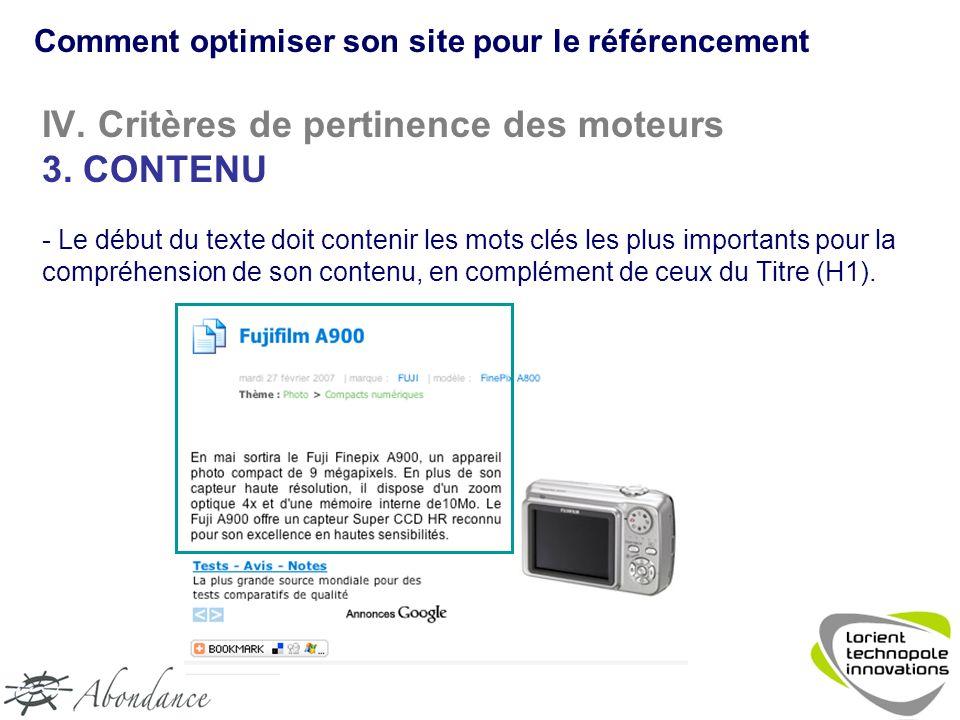 IV. Critères de pertinence des moteurs 3.