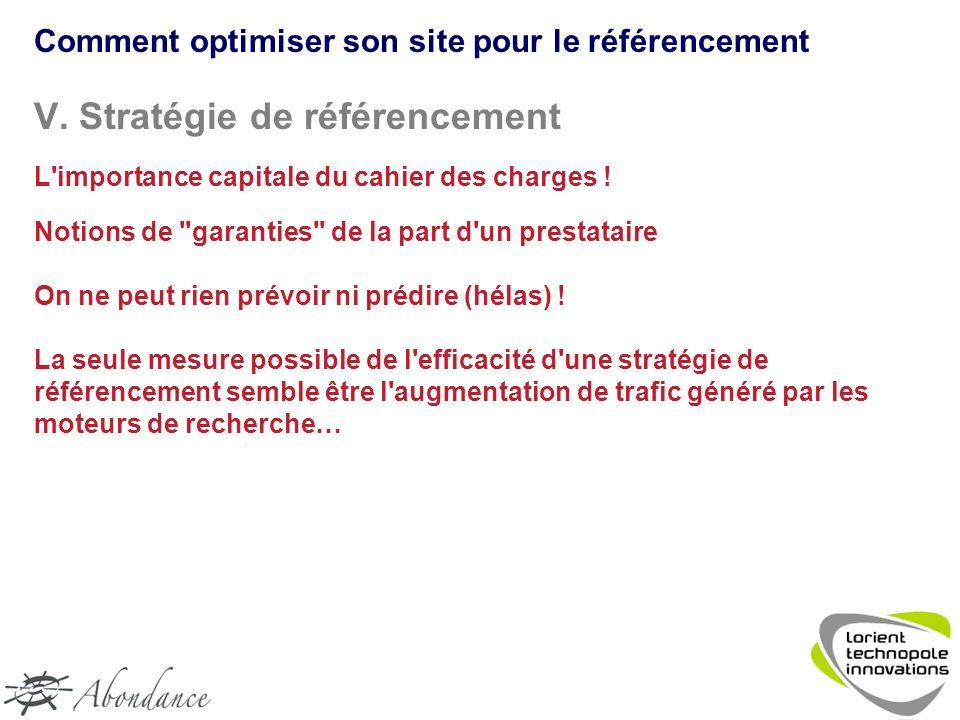 V. Stratégie de référencement L importance capitale du cahier des charges .