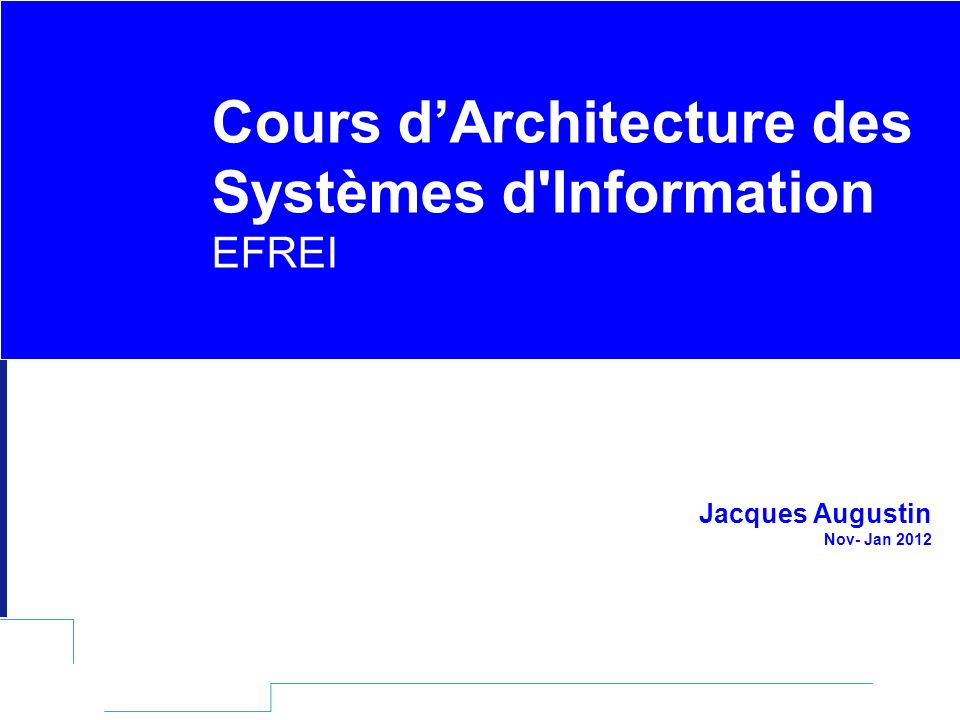EFREI – M1A | Architecture des Systèmes d Information | Mai – Juillet 2011| Page 202 Un modèle à 2 couches La couche externe : API JDBC C est la couche visible et utile pour développer des applications Java accédant à des SGBD représentée par le package java.sql Les couches inférieures : Destinées à faciliter l implémentation de drivers pour des bases de données Représentent une interface entre les accès de bas niveau au moteur du SGBD et la partie applicative