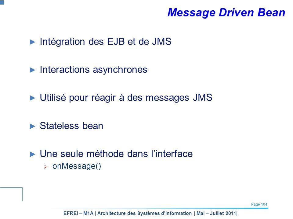 EFREI – M1A | Architecture des Systèmes d'Information | Mai – Juillet 2011| Page 104 Message Driven Bean Intégration des EJB et de JMS Interactions as