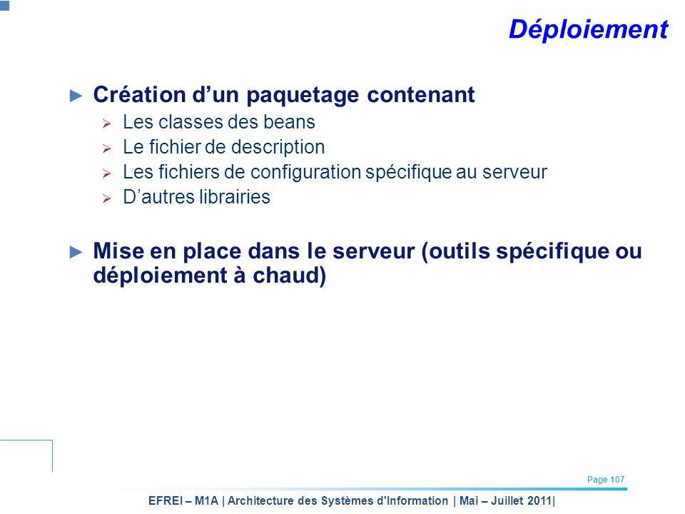 EFREI – M1A | Architecture des Systèmes d'Information | Mai – Juillet 2011| Page 107 Déploiement Création dun paquetage contenant Les classes des bean