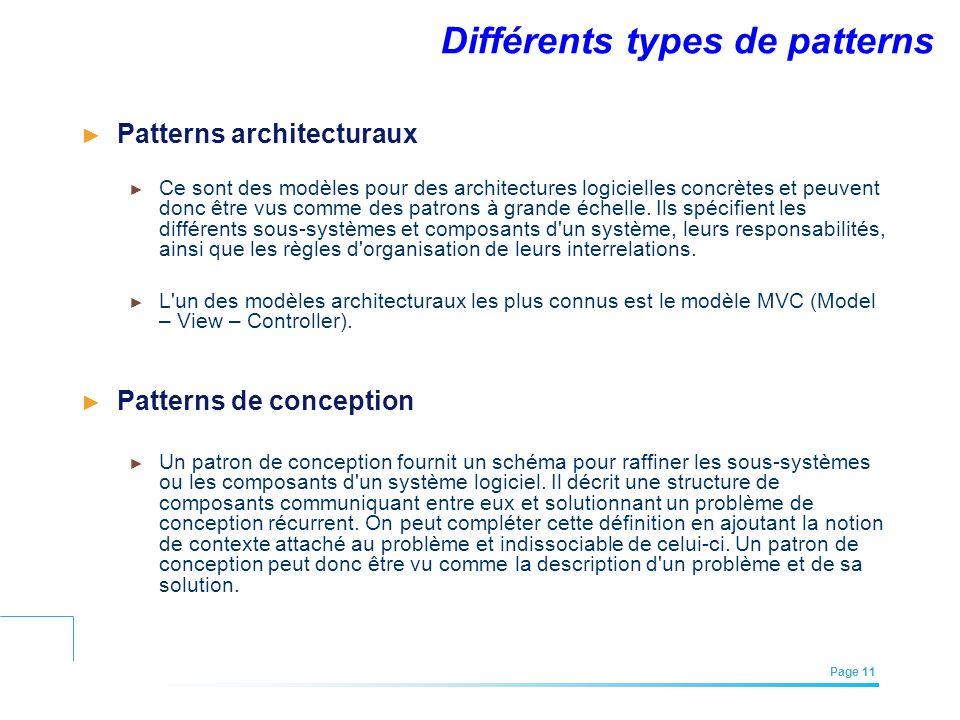 EFREI – M1A | Architecture des Systèmes d'Information | Mai – Juillet 2011| Page 11 Différents types de patterns Patterns architecturaux Ce sont des m