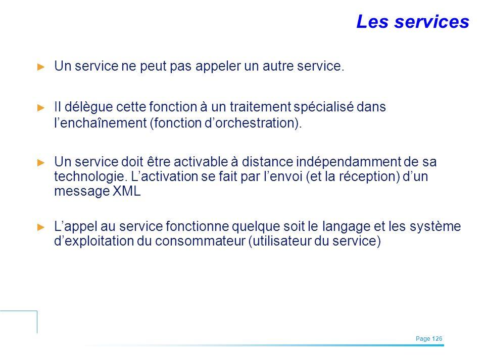 EFREI – M1A | Architecture des Systèmes d'Information | Mai – Juillet 2011| Page 126 Un service ne peut pas appeler un autre service. Il délègue cette