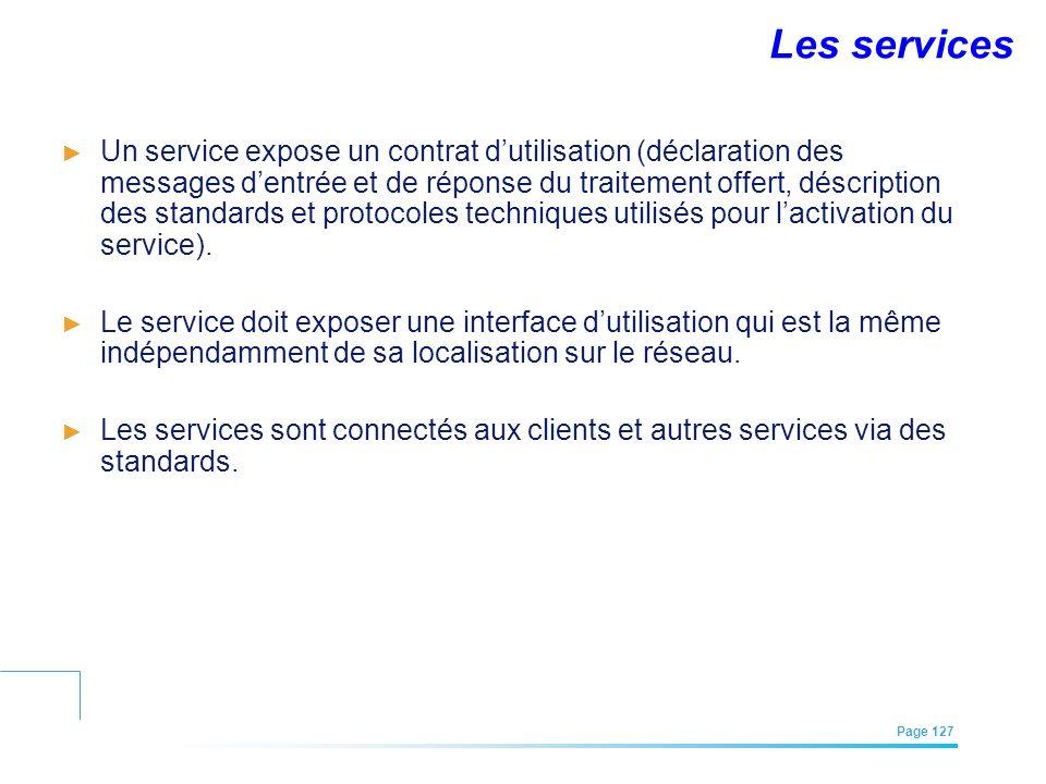 EFREI – M1A | Architecture des Systèmes d'Information | Mai – Juillet 2011| Page 127 Un service expose un contrat dutilisation (déclaration des messag