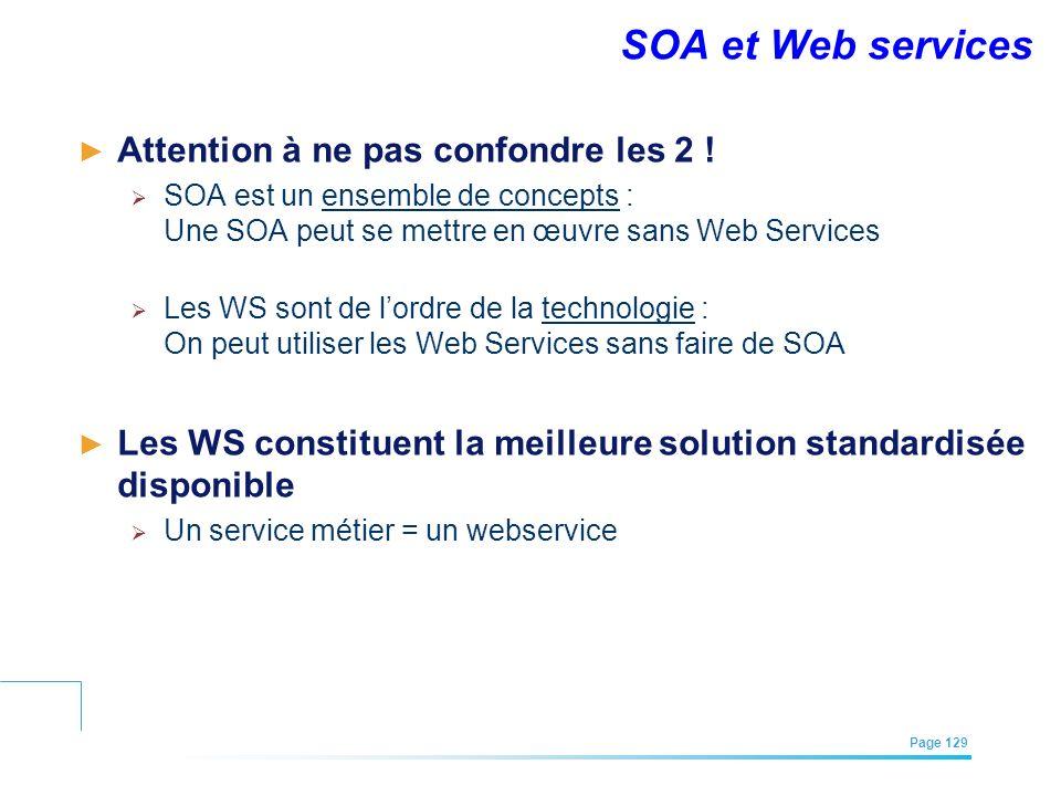 EFREI – M1A | Architecture des Systèmes d'Information | Mai – Juillet 2011| Page 129 SOA et Web services Attention à ne pas confondre les 2 ! SOA est