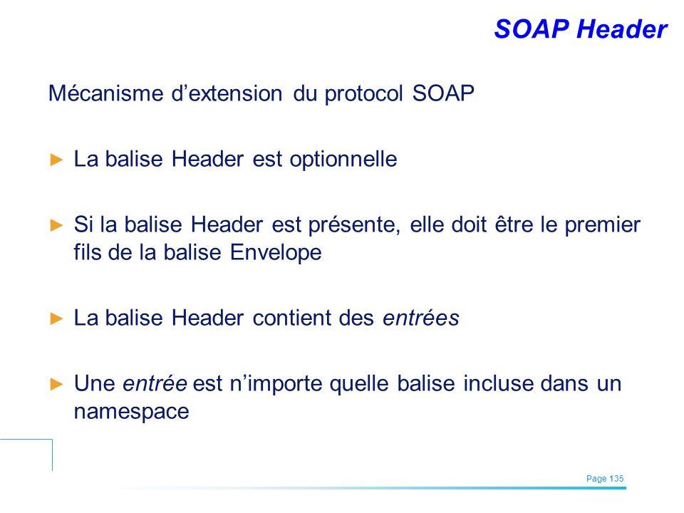 EFREI – M1A | Architecture des Systèmes d'Information | Mai – Juillet 2011| Page 135 SOAP Header Mécanisme dextension du protocol SOAP La balise Heade