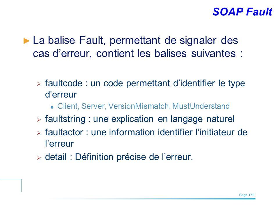 EFREI – M1A | Architecture des Systèmes d'Information | Mai – Juillet 2011| Page 138 SOAP Fault La balise Fault, permettant de signaler des cas derreu