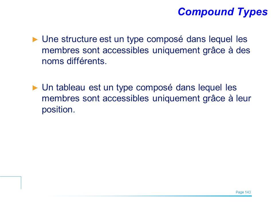 EFREI – M1A | Architecture des Systèmes d'Information | Mai – Juillet 2011| Page 143 Compound Types Une structure est un type composé dans lequel les