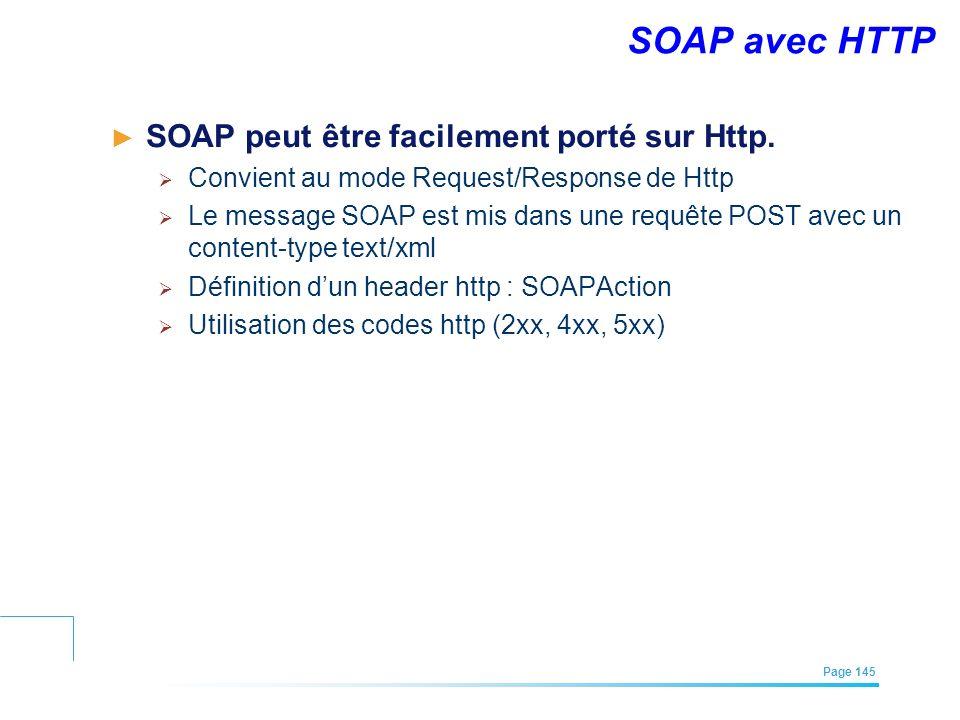EFREI – M1A | Architecture des Systèmes d'Information | Mai – Juillet 2011| Page 145 SOAP avec HTTP SOAP peut être facilement porté sur Http. Convient