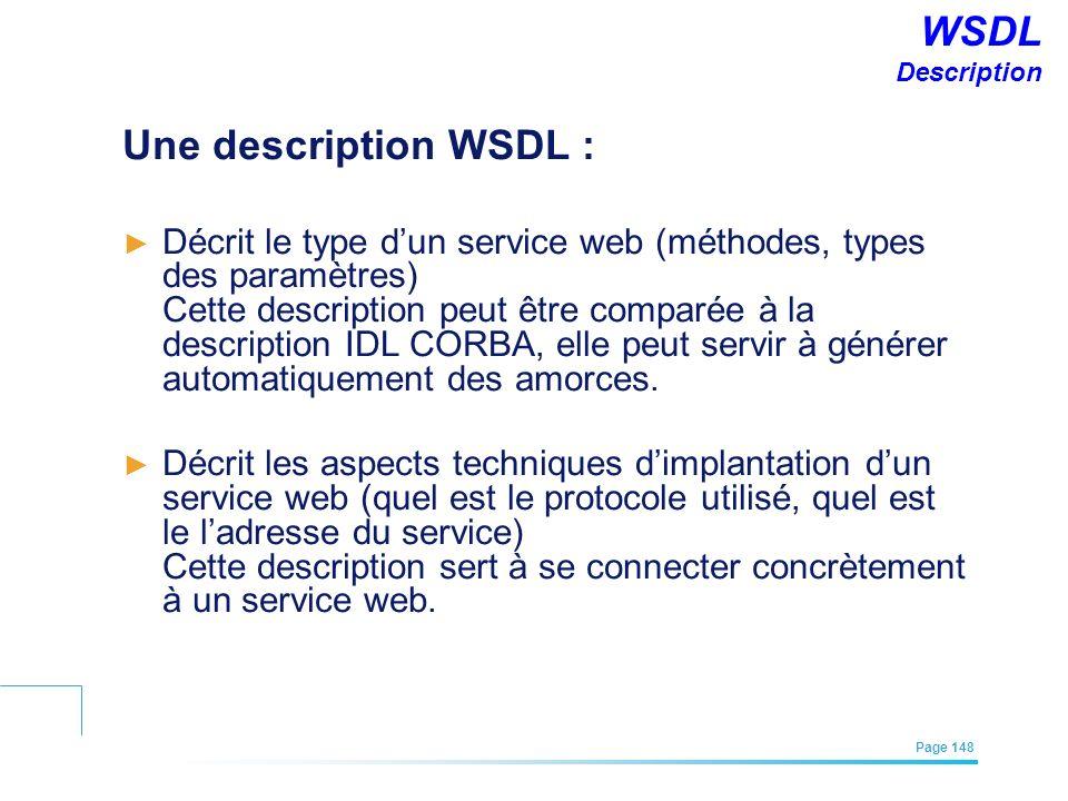 EFREI – M1A | Architecture des Systèmes d'Information | Mai – Juillet 2011| Page 148 WSDL Description Une description WSDL : Décrit le type dun servic
